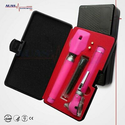 Special Edt Fiber Optic Mini Otoscope Ophthalmoscope Led Diagnostic Ent Set Pink
