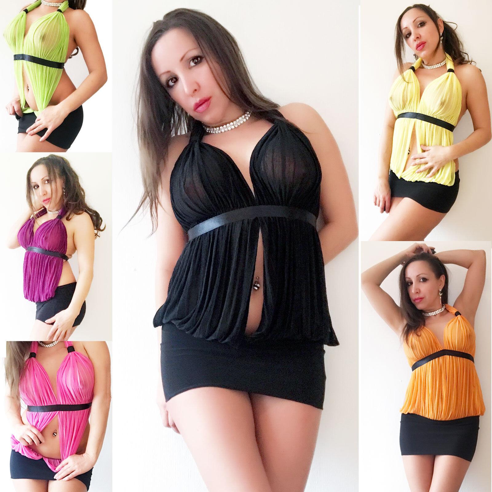 Rückenfrei leicht transparent Neckholder Top Mini Kleid Dress Cover ... 34153d6fc5