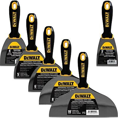 Dewalt Putty Knife Set 6pc 3-4-5-6-8-10 Carbon Steel Drywall Finishing Tools