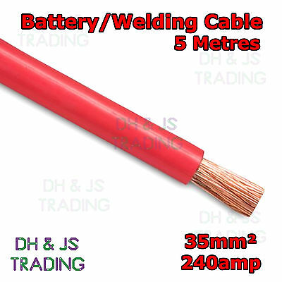 5m Red Battery Welding Cable 35mm² 240a Flexible Marine 0AWG 0 Gauge Power OFC