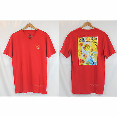 NWT Nautica Men Red V-Neck Graphic Tee Polynesian Island 100% Cotton T-Shirt