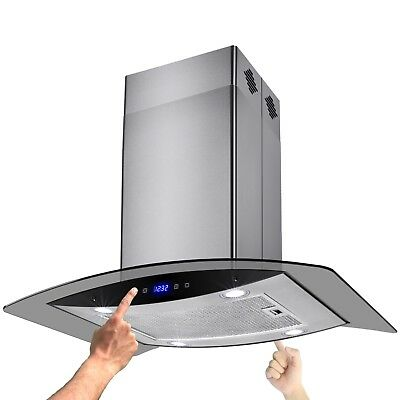 "30"" Glass Stainless Steel Island Range Hood Grease Filter Vent 9-9.5FT Ceiling"