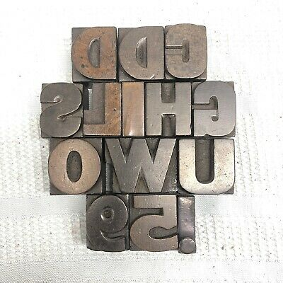 Vintage Antique Letterpress Wooden Wood Type Printing Blocks Alphabet Letters
