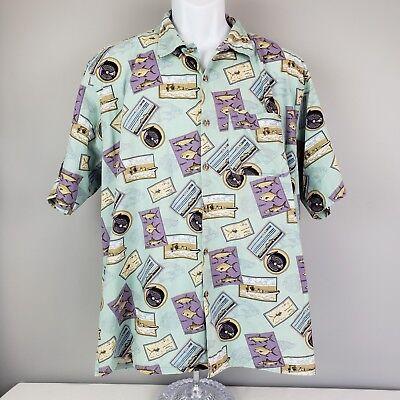 ORVIS Lg Fishing Motif Shirt Multi Color Short Sleeve Boat Poles Reels Lures USA