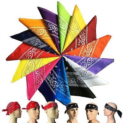 3-12 Pcs Paisley Print Bandana 100% Cotton Face Mask Cover Head Warp Scarf Lot