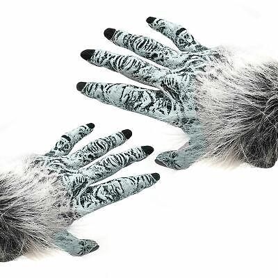 Grau Walker Werwolf Hände Erwachsene Wolf Handschuhe Weiß ()