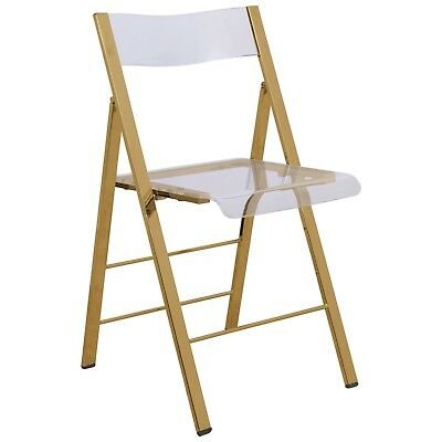 LeisureMod Menno Clear Acrylic Dining Folding Chair With Gold Chrome Frame