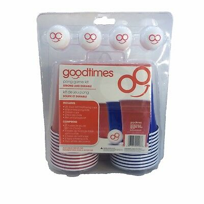 Goodtimes Pong Game Kit Beer Pong or Flip Cup | Cups Balls Mats Pen Players - Beer Pong Kit