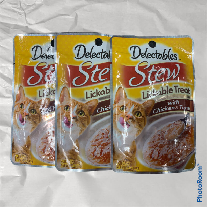 HARTZ DELECTABLES STEW WITH CHICKEN AND TUNA LICKABLE CAT TREATS , PACK OF 3