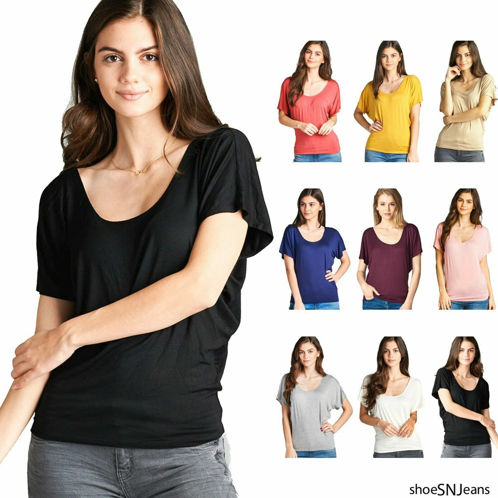 Active USA Dolman Short Sleeve Scoop Neck Tops Solid Color Size S M L XL Clothing, Shoes & Accessories