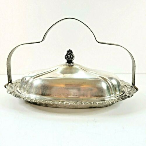 """Silver Plated Butter Dish Dome Lid With Knob & Handle 9"""" Heller CC Brooklyn Made"""
