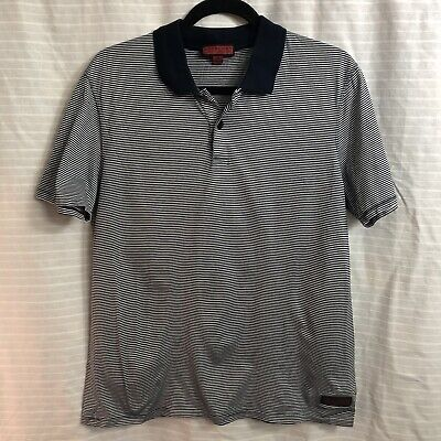 Burberry Mens Blue White Striped Polo Shirt Size Large Excellent