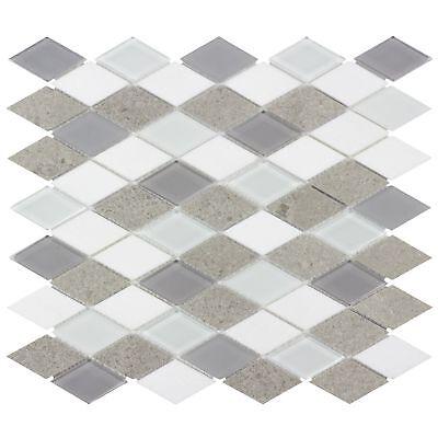 (MTO0128 | Contemporary Diamond White Gray Glossy Matte Glass Metal Mosaic Tile)