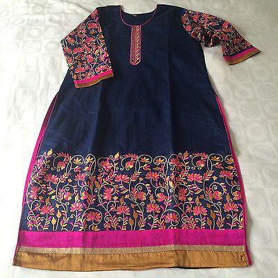 New Indian Ethnic designer bollywood XXL size long top Silk kurti dress Blue
