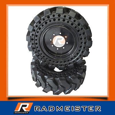 Set Of 4 Solid Skid Steer Tires 10x16.5 Wrims Bobcat Cat John Deere New Holland