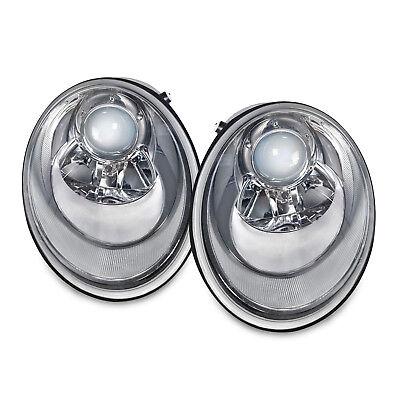 2006-2010 Volkswagen Beetle Chrome Halogen Headlights Set W/Lite Smoke Lens