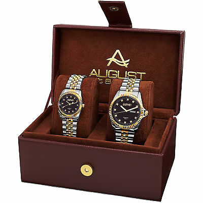 August Steiner AS8201TTG His & Hers Diamond Dial Date Bracelet Watch Set