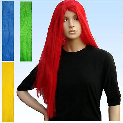 u Gelb Grün oder Rot  lange Perücke Haare lang Herren Damen (Rote Herren-perücke)