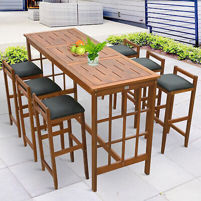 7pc patio acacia wood dining table chairs