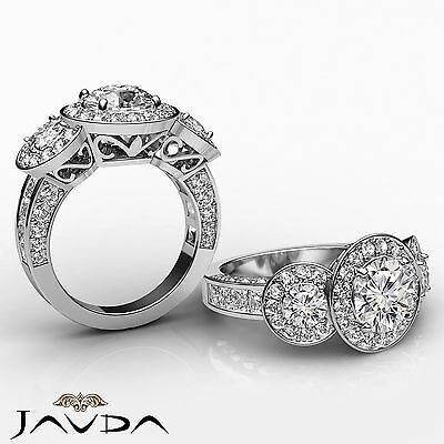 3 Stone Dazzling Round Diamond Solid Engagement Ring GIA G SI1 Platinum 2.3 ct