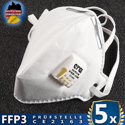 5 Stück FFP3 Masken mit Ventil, Atemschutzmasken ERA 4310V NR, CE Zertifiziert