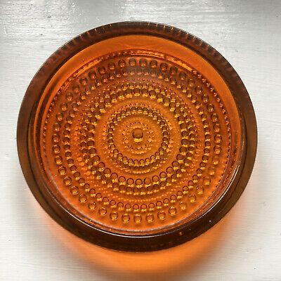 Vintage Iittala Nuutajarvi Kastehelmi Amber Orange 15 cm Dish Oiva Toikka VGC