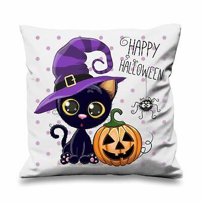 Happy Halloween Cat Cartoon Faux Silk 45cm x 45cm Sofa Cushion ()