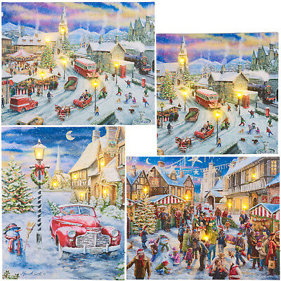 Christmas Light Up LED Wall Canvas Xmas Scene Decoration Decor Wall Art Picture ()