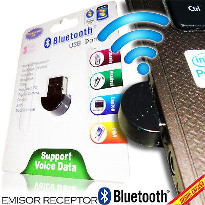 ADAPTADOR BLUETOOTH USB NANO RECEPTOR EMISOR DONGLE PC PORTATIL MINIATURA 100 M