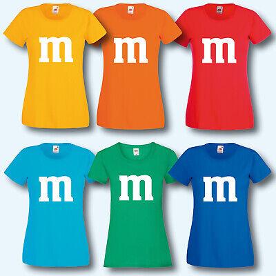 Damen T-Shirt, Fun-Shirt, M&M Kostüm Karneval Fasching Gruppenkostüm ()