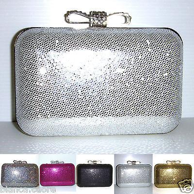 Pochette Clutch CERIMONIA Baguette ARGENTO Silver borsa elegante stola D0255