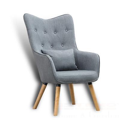 Fernsehsessel mit Kissen Grau Relax TV Sessel Wohnzimmersessel Stoffbezug