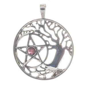 Baum des Lebens Hexagramm Pentagramm mit Amethyst Anhänger 925 Sterling Silber