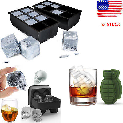 BY 8 Big Cube/Skull /Giant Jumbo Silicone Ice Cube Square Tray Mold Mould