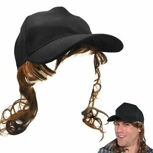 Adult Trucker Redneck Cap Hat with Mullet Hair Wig Fancy Dress Costume  Accessory 09509bc0b8ef