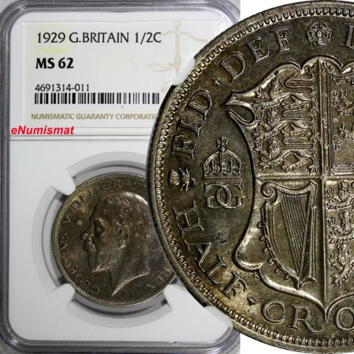 Great Britain George V Silver 1929 1/2 Half Crown NGC MS62 Light Toned KM# 835