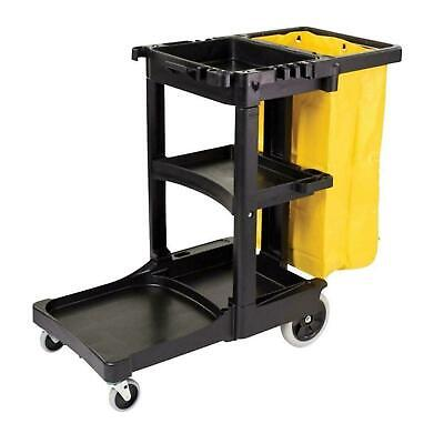 Plastic Cleaning Janitorial Cart Holder Storage Zippered Yellow Vinyl Bag Black