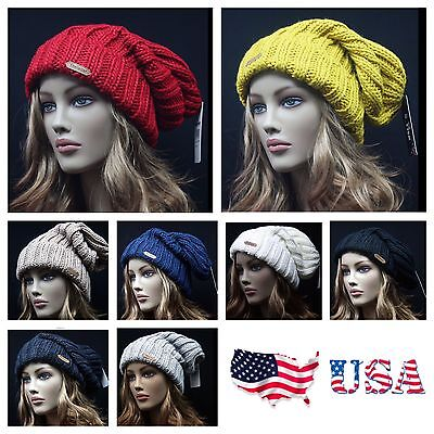 (Mens Women Knit Baggy Beanie Cap Oversize Winter Slouch Extra Long Fashion Hat)