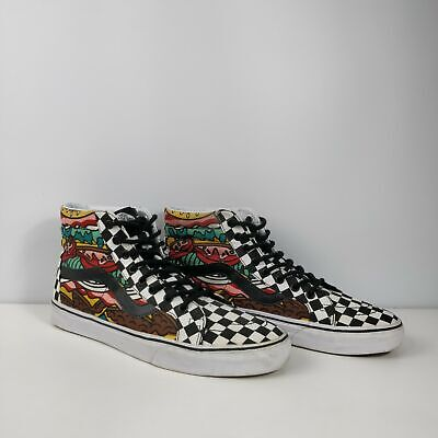 MENS VANS WHITE BLACK CHECK BURGER PRINT HIGH TOP TRAINERS UK 9.5 EU 44 SHOES