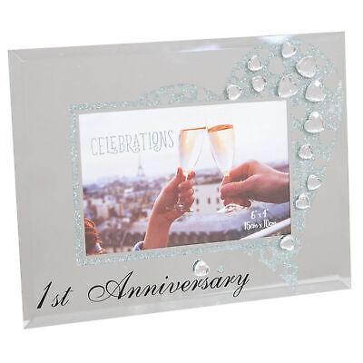 Marco de Fotos Con Espejo de Cristal y Claro Cristales 6x4-1st Aniversario