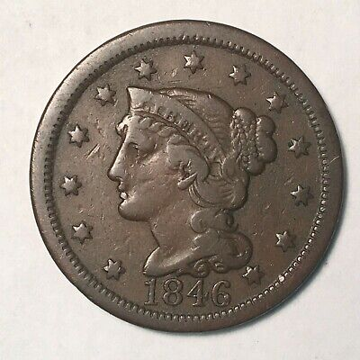 1846 Large Cent Tall Date Fine