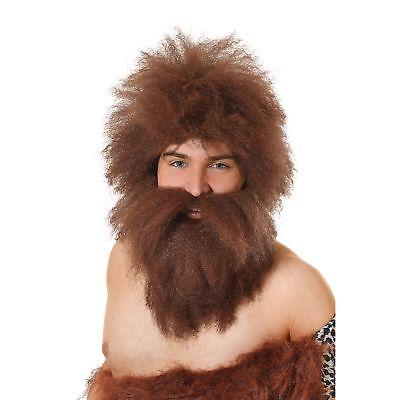 CAVEMAN STONE AGE BROWN WIG & BEARD SET Adults Mens Fancy Dress Costume - Caveman Stone Age