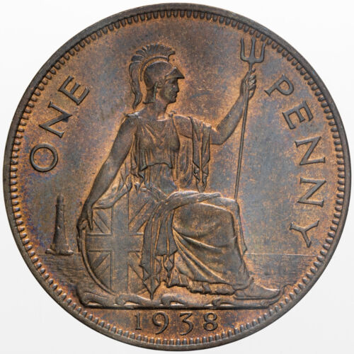 1938 GREAT BRITAIN 1 PENNY RED BROWN UNC BU GEM (DR)