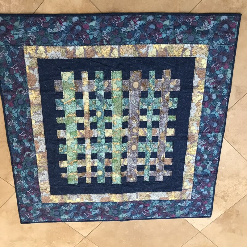 """Hand Made Baby Quilt Blue Floral Reversible 41.5"""" Square"""