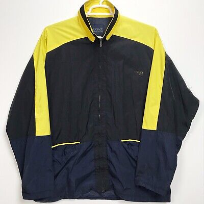 Versace Couture Jacket Mens 2XL Size Windbreaker Vintage 90s Yellow Black Blue