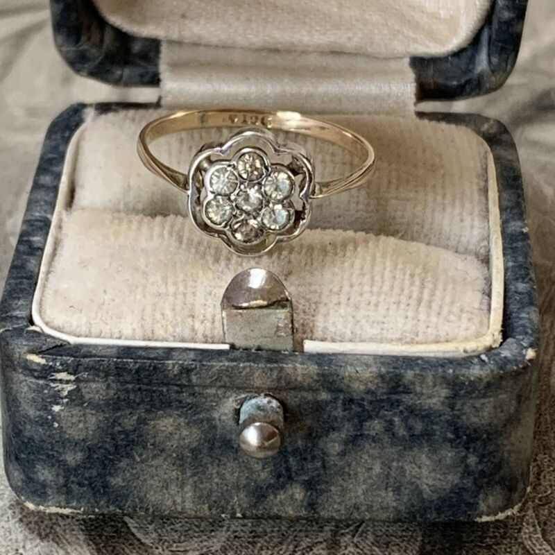 Antique Edwardian Art Deco 9ct Yellow Gold and Silver Paste Diamond Ring UK J1/2