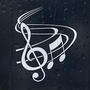 Classic music notes with treble clef car graphic decal vinyl adhesive sticker - Sol vinyle autocollant ...