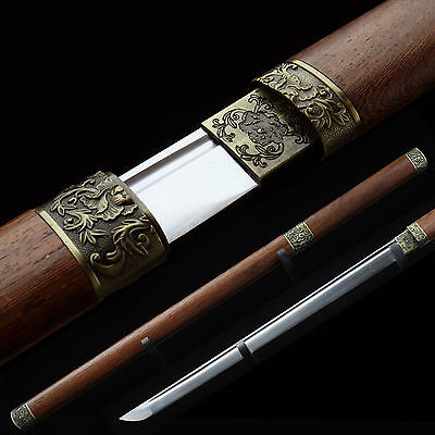 Handmade Japanese Katana Samurai Sword Carbon Steel Sharp Blade with Wood Sheath