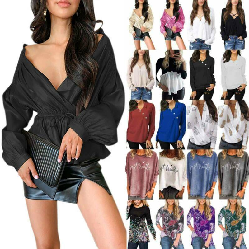 Ladies Long Sleeve T-shirt Tunic Tops Loose Casual Pullover