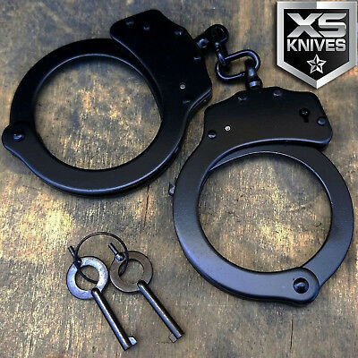 REAL Police Handcuffs DOUBLE LOCK Professional BLACK STEEL Hand Cuffs  w/ Keys (Real Handcuffs)